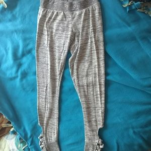 Grey Joggers with Crisscross Detail at Ankles